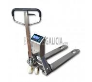 Transpaleta Pesadora inoxidable Serie TP410i - Capacidad: 1000/2000 kg, Precision: 0.5/1 kg Metrologica con Impresora