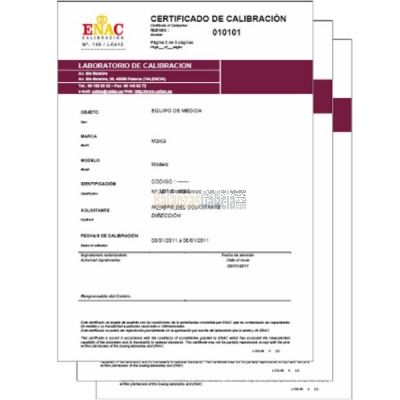 Certificados de Calibración ENAC MASAS M1, M2 (GR)