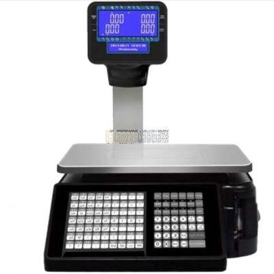 Balanza Comercial con columna y etiquetadora - Serie WINTRONIX WX-BC1800 Negra