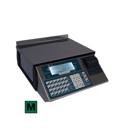 Elegante balanza electrónica con carcasa exterior completamente de acero inoxidable INOX. Display LCD retroiluminado con presentación del nombre del producto, operación a realizar o mensaje publicitario.Imprime tiques en papel t&ea