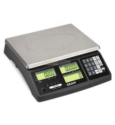 Balanza industrial - Serie RK. Cuentapiezas  y alta conectividad. de 3 a 30Kg. Plato de acero inoxidable