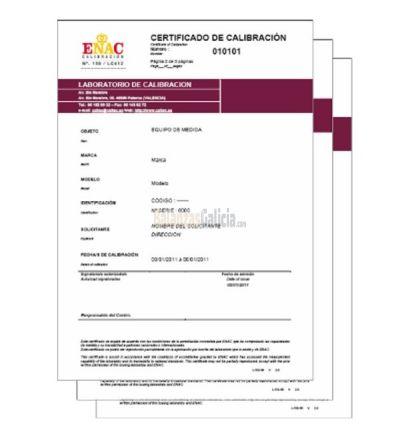 Certificado Trazabilidad ENAC pesas / masas - Clases M1 y M2