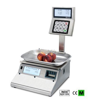 Balanza GP4LS12 capacidad 12/30kg, división 2/5g, cuerpo y plato 368x250mm de acero inoxidable, pantalla doble LCD retroiluminada, teclado con 12 teclas y etiquetadora térmica.