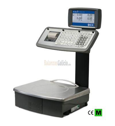 Balanza GPEMK capacidad 6/15kg, división 2/5g, cuerpo y plato 370x310mm de acero inoxidable, pantalla doble LCD retroiluminada sobre columna, teclado mecánico con 69 teclas e impresora térmica.